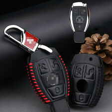 Premium Leather 3 Buttons Remote Key Holder Fob Case Cover For Mercedes Benz