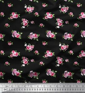 Soimoi Fabric Leaves & Pink Rose Floral Printed Craft Fabric BTY-FL-2050A
