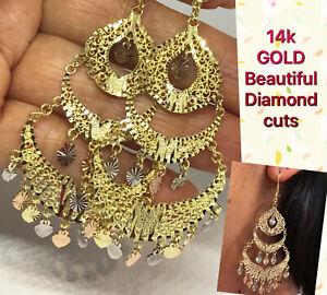"""GOLD Chandelier Earring 14k dangle hanging Gypsy Filigree long heart 3"""" BiG"""