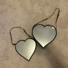 2 Plastic Heart Wall Hanging Mirrors