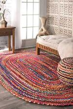 Braided Oval Cotton Area Rag Rug Hardwood Floors Natural Recycled Woven Fabric