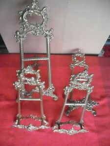 4 Rare Vintage Ornate Brass Easel Frame Picture Plate Book Display Stands