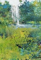 Aceo ATC Painting Print Landscape Waterfall Garden Art Trading Card Signed