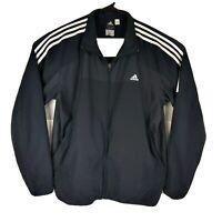 Adidas Mens Track Jacket XL Full Zip Windbreaker Mesh Lined Blue White Stripes