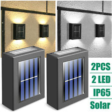 【2 Pack】 Outdoor Solar LED Street Wall Lights Dusk-to-Dawn Lighting Fixture Lamp
