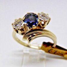 Three stone crossover pretty blue oval Sappire/Diamond ring in 14ct white gold