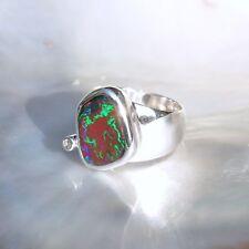 Boulderopal Ring, 925er Silber, Edelsteinring (22077), Opal, mit Mondstein