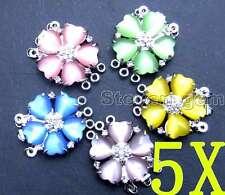 SALE Wholesale 5X Multi-color Big 25mm Heart Cat's eye petal 3 strands clasp-168