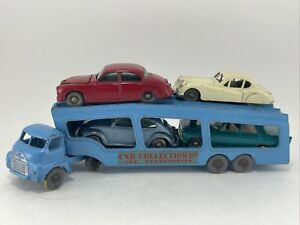 1960s matchbox #2 BEDFORD CAR TRANSPORTER BLUE w 4 cars VW JAGUAR FORD + grey