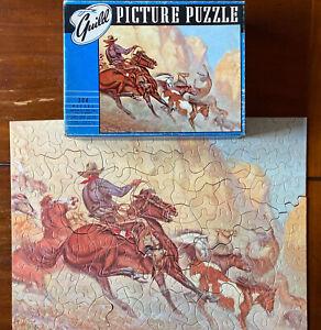 Vintage Guild Picture Puzzle Western Cowboy & Horses, 304 Pieces Complete in Box