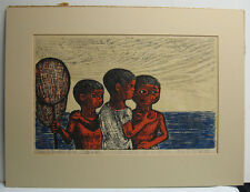 Gyojin Murakami '70 Modern Japanese Color Woodblock of Boys Fishing Listed Japan