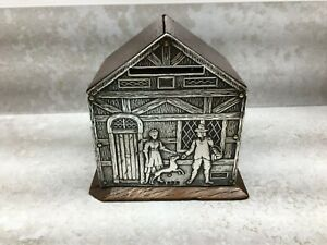RARE ANTIQUE SOLID STERLING SILVER FRONTED & OAK COTTAGE MONEY BOX B/HAM 1913