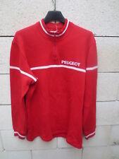 Sweat Maillot cycliste PEUGEOT vintage rouge manches longues années 70 shirt 4 L
