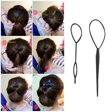 Ponytail Creator Plastic Loop Styling Tools Black Topsy Pony Tail Hair Braid HS