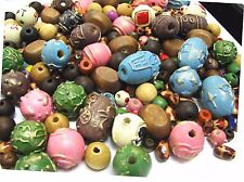 Wood Beads Natural Printed Color Mix 8-14mm Hole 2mm 300 pcs+ DIY Jewelry Craft