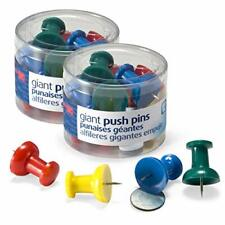 Officemate Giant Push Pins 15 Assorted Colors 2 Tubs Of 12 92905