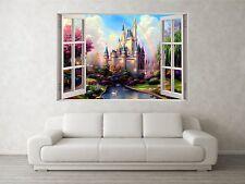 FANTASY CASTELLO 1 scena 3d Full Color Finestra Casa Wall Art Decalcomania Murale Adesivi
