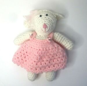 "Handmade Crochet Knitted Girl Teddy Bear 13.5"" Stuffed Toy Pink Pinafore Dress"