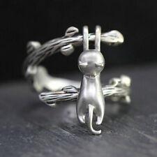 925 Silver Open adjustable Branch Cat Rings Handmade Cute Girls Rings Jewelry