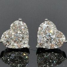 Pendientes de corazón de lujo con zafiro blanco CZ 925 Joyas de plata para mujer