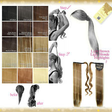Wiwigs Blonde Brown Red Black Curly or Straight Wrap Around Clip In Ponytail