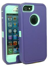 iPHONE 5 CASE, purple on teal, BRAND NAME - BODY ARMOR DEFENDER