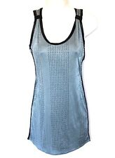 Salvage Sz S Mini Dress Blue Rhinestone Glam Corset Straps Bodycon Club EUC