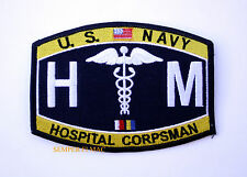US NAVY HOSPITAL CORPSMAN HM RATING HAT PATCH USS USN DOC NURSE ENLISTED CHIEF