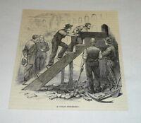 1878 magazine engraving ~ A CUBAN INTERMENT ~ prison in Cuba