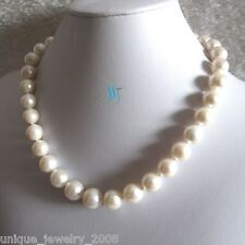 "18"" 12-15mm A+ White Freshwater Pearl Necklace Strand Jewelry"