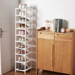 10 Tier Plastic Shoe Rack Storage Shelf Holder Stand Organiser Corner Bench