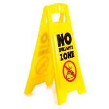 444008 NO BULLSHIT ZONE DESK DOUBLE SIDED MINI WARNING SIGN NOVELTY GIFT IDEA
