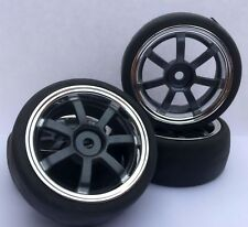 RC Car 1/10 EP 26mm 3mm OFFSET Wheel SLICKS Tyres 7 Spoke Blue/Grey fits Tamiya