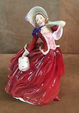 "Royal Doulton Autumn Breezes 8"" red dress Figurine Vintage pretty ladies woman"