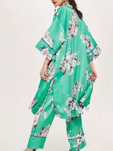 BNWT Topshop Set Green Heron Print Kimono & Trousers Co Ord Oriental UK 6