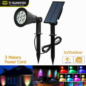 T-SUN 7 LED Solar Spotlight with Solar Panel Auto Color-Changing Outdoor Lamp UK