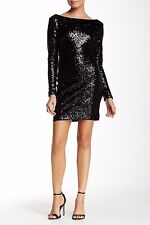 DRESS THE POPULATION KELLY BACKLESS SEQUIN BLACK BODY-CON MINI DRESS sz S