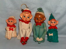 4 Vintage Pixie Elf On A Shelf Ornaments Green & White 2 Large 2 Small Japan