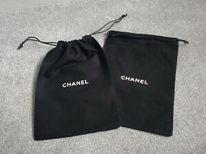 2x BNWOT NEW CHANEL BLACK LOGO JEWELLERY OR SMALL BAG PURSE DUST BAG COVER POUCH