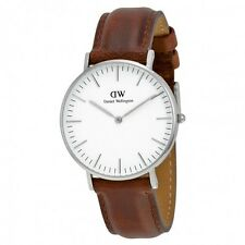 Daniel Wellington St Mawes Watch 0607DW 36mm Silver White Dial Brown Leather