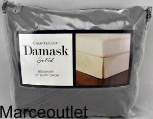 Charter Club Damask Solid 550 Thread Count FULL Bedskirt Solid Stone Gray