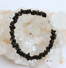 Natur Schröl Schwarz Turmalin Armband,edelsteinarmband,Damen,Nuggets,925 Silber