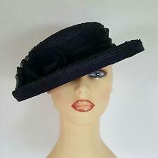 Ladies Wedding Hat Races Mother Bride Ascot Hat Navy Rosettes Anne Hanna Millner