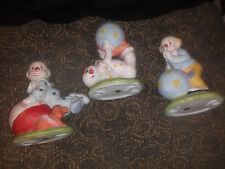 Set of Three Vintage Clowns Bisque Porcelain Figurines Made in China