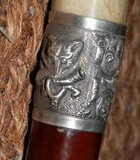 Victorian Fox Hunting Whip/Cane -  Hallmarked Silver Fox Head Collar 1881
