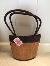 Hand Made Baskets of Cambodia Tatami Purse Bag by Saraye Co Woven