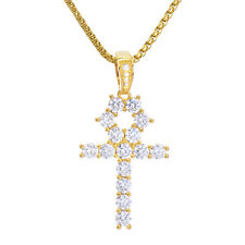 "Men's Gold Tone Stone Ankh Cross Pendant & Stainless Steel 22"" Chain Bsh 13108 G"