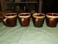 4 Mc Coy Glazed Brown Pottery Mugs (cups)
