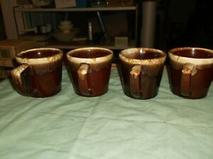 4 Mc Coy Glazed Brown Pottery Mugs (cups)
