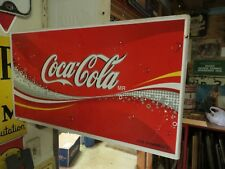 original COCA-COLA MR.VIVA SANAMENTE DOUBLE SIDED FLANGE SODA POP PROMO SIGN